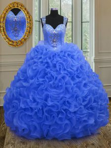 Nice Royal Blue Organza Zipper Straps Sleeveless Floor Length Quinceanera Dresses Beading and Ruffles
