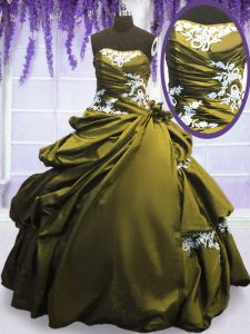 Olive Green Ball Gowns Strapless Sleeveless Taffeta Floor Length Lace Up Appliques and Pick Ups Quinceanera Dress