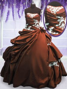 Floor Length Lace Up Quinceanera Gowns Brown for Military Ball and Sweet 16 and Quinceanera with Appliques and Pick Ups