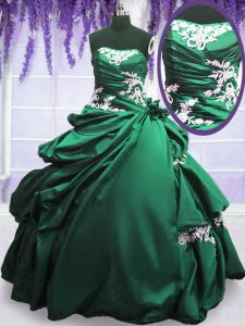 Green and Dark Green Lace Up Strapless Appliques and Pick Ups Sweet 16 Dresses Taffeta Sleeveless