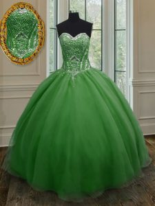 Dark Green Sweet 16 Quinceanera Dress Military Ball and Sweet 16 and Quinceanera with Beading and Ruching Sweetheart Sleeveless Lace Up