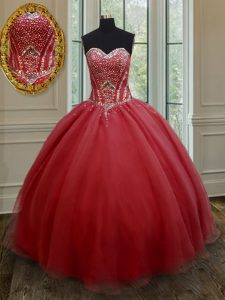 Red Lace Up Sweetheart Beading Quinceanera Gown Organza Sleeveless