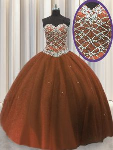 Brown Tulle Lace Up Ball Gown Prom Dress Sleeveless Floor Length Beading and Sequins