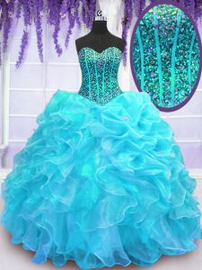 Organza Sweetheart Sleeveless Lace Up Beading and Ruffles and Pick Ups 15th Birthday Dress in Aqua Blue