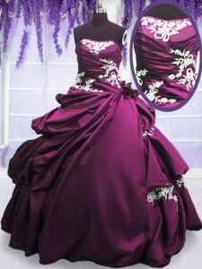 Fine Purple Strapless Lace Up Appliques and Pick Ups Quinceanera Dresses Sleeveless