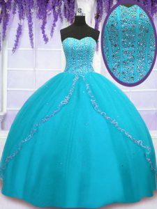 Backless Floor Length Aqua Blue Sweet 16 Dresses Tulle Sleeveless Beading and Sequins