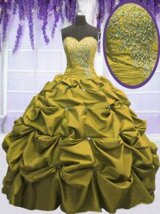Sophisticated Sweetheart Sleeveless Taffeta Quinceanera Dresses Beading and Appliques and Pick Ups Lace Up
