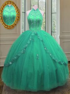 Turquoise Lace Up Vestidos de Quinceanera Beading and Appliques Sleeveless Floor Length