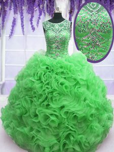 Traditional Scoop Green Organza Lace Up Sweet 16 Quinceanera Dress Sleeveless Floor Length Beading and Ruffles