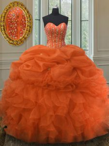 Deluxe Sleeveless Lace Up Floor Length Beading and Ruffles and Pick Ups 15 Quinceanera Dress