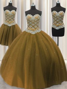 New Arrival Three Piece Floor Length Lace Up Quince Ball Gowns Brown for Military Ball and Sweet 16 and Quinceanera with Beading and Sequins
