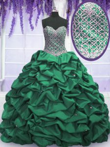 Floor Length Lace Up 15 Quinceanera Dress Dark Green for Military Ball and Sweet 16 and Quinceanera with Beading and Sequins and Pick Ups