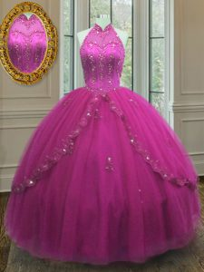 High-neck Sleeveless Lace Up Sweet 16 Dresses Fuchsia Tulle