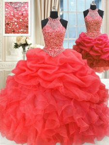 Beauteous Three Piece Red Lace Up Quince Ball Gowns Beading and Pick Ups Sleeveless Floor Length