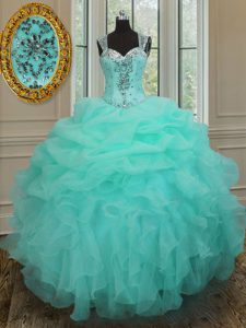 High Class Straps Apple Green Organza Zipper 15 Quinceanera Dress Sleeveless Floor Length Beading and Ruffles