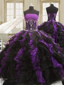 Black And Purple Sleeveless Organza Lace Up Quinceanera Dress for Military Ball and Sweet 16 and Quinceanera