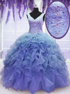 Purple Sleeveless Beading and Embroidery and Ruffles Floor Length Sweet 16 Quinceanera Dress