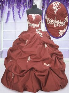 Modest Rust Red Sleeveless Appliques and Pick Ups Floor Length Quinceanera Dress