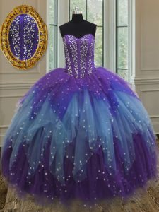 Custom Design Multi-color Lace Up Vestidos de Quinceanera Beading and Ruffles and Sequins Sleeveless Floor Length