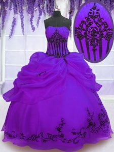 Affordable Purple Strapless Lace Up Embroidery Quinceanera Dresses Sleeveless
