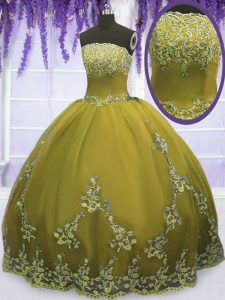 Floor Length Zipper Ball Gown Prom Dress Olive Green for Military Ball and Sweet 16 and Quinceanera with Appliques
