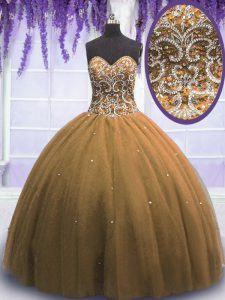 Sleeveless Floor Length Beading Lace Up Vestidos de Quinceanera with Brown