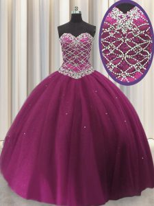 Customized Sleeveless Lace Up Floor Length Beading and Sequins Sweet 16 Dress