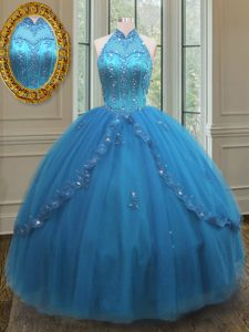 High-neck Sleeveless Tulle 15 Quinceanera Dress Beading and Appliques Lace Up
