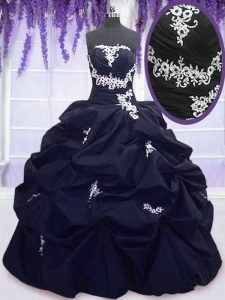 Discount Navy Blue Taffeta Lace Up Sweet 16 Quinceanera Dress Sleeveless Floor Length Appliques and Pick Ups