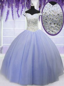 Beauteous Off the Shoulder Short Sleeves Lace Up Floor Length Beading Quinceanera Dresses