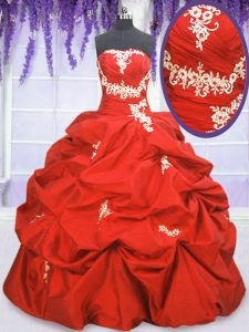 Sleeveless Floor Length Appliques and Ruching and Pick Ups Lace Up Sweet 16 Dresses with Coral Red