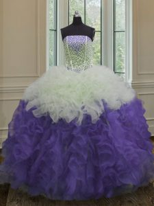 Floor Length White And Purple 15th Birthday Dress Strapless Sleeveless Lace Up