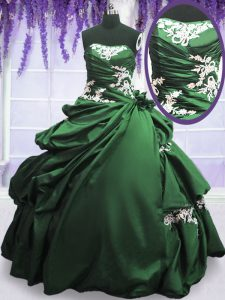 Taffeta Sleeveless Floor Length Vestidos de Quinceanera and Appliques and Pick Ups