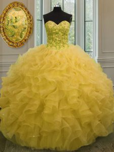 Inexpensive Floor Length Gold Quince Ball Gowns Organza Sleeveless Beading and Ruffles