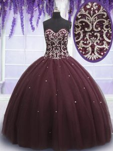 Beading and Appliques 15 Quinceanera Dress Dark Purple Lace Up Sleeveless Floor Length
