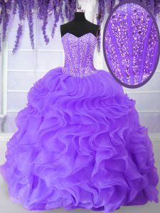 Purple Sweetheart Neckline Beading and Ruffles Sweet 16 Quinceanera Dress Sleeveless Lace Up