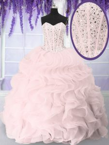 Top Selling Floor Length Lace Up Sweet 16 Dresses Pink for Military Ball and Sweet 16 and Quinceanera with Beading and Ruffles