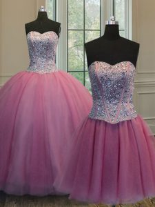 Adorable Three Piece Rose Pink Organza Lace Up Sweetheart Sleeveless Floor Length Ball Gown Prom Dress Beading