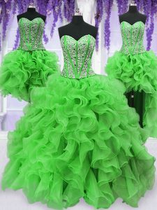 Four Piece Sleeveless Beading and Ruffles Lace Up 15th Birthday Dress