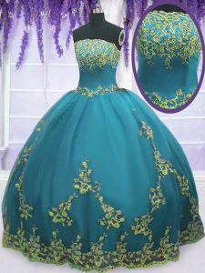 Teal Strapless Zipper Appliques Quinceanera Gowns Sleeveless