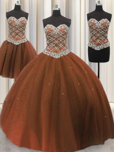 Shining Three Piece Sleeveless Floor Length Beading and Sequins Lace Up Quinceanera Dresses with Brown