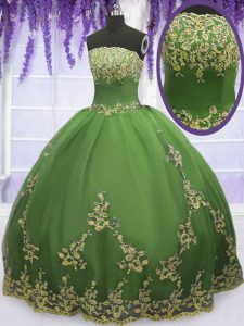 Appliques 15th Birthday Dress Olive Green Zipper Sleeveless Floor Length