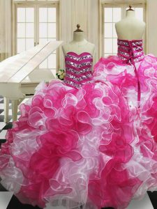 Graceful Ball Gowns 15th Birthday Dress Pink And White Sweetheart Organza Sleeveless Floor Length Lace Up