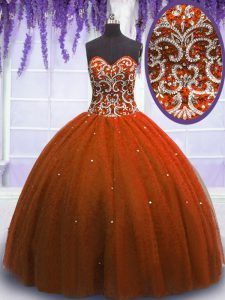 Custom Designed Sleeveless Tulle Floor Length Lace Up Vestidos de Quinceanera in Rust Red with Beading
