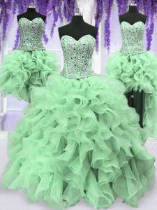 Four Piece Organza Sweetheart Sleeveless Lace Up Beading and Ruffles Quinceanera Dress in Apple Green