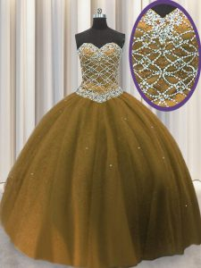 Brown Ball Gowns Beading 15 Quinceanera Dress Lace Up Tulle Sleeveless Floor Length