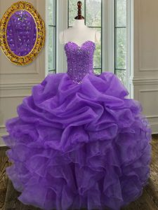 Lavender Sweetheart Neckline Beading and Ruffles Quinceanera Dress Sleeveless Lace Up