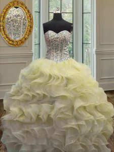 Light Yellow Organza Lace Up Sweetheart Sleeveless Floor Length 15 Quinceanera Dress Beading and Ruffles