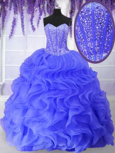 Blue Quinceanera Dresses Military Ball and Sweet 16 and Quinceanera with Beading and Ruffles Sweetheart Sleeveless Lace Up