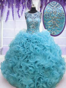 Square Sleeveless Beading and Ruffles Lace Up 15th Birthday Dress with Baby Blue